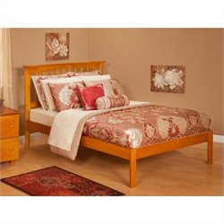 Atlantic Furniture Mission Bed with Open Foot Rail in Caramel Latte - Twin Size