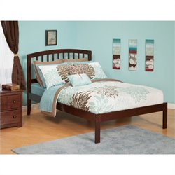 Atlantic Furniture Richmond Bed with Open Foot Rail in Antique Walnut - Twin Size