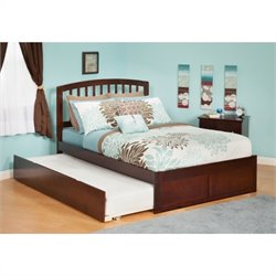 Atlantic Furniture Richmond Bed with Urban Trundle in Antique Walnut - Twin Size