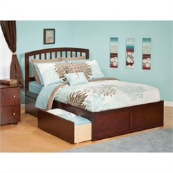 Atlantic Furniture Richmond Bed with Drawers in Antique Walnut - Twin Size
