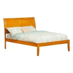 Atlantic Furniture Portland Bed with Open Foot Rail in Caramel Latte