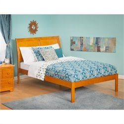 Atlantic Furniture Portland Bed with Open Foot Rail in Caramel Latte - Twin Size