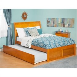 Atlantic Furniture Portland Bed with Urban Trundle in Caramel Latte - Twin Size