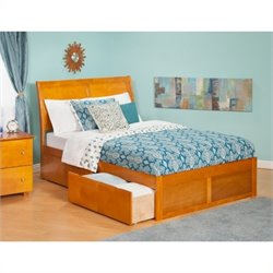 Atlantic Furniture Portland Bed with Drawers in Caramel Latte - Twin Size