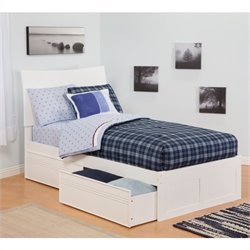Atlantic Furniture Soho Bed with Drawers in White - Twin Size