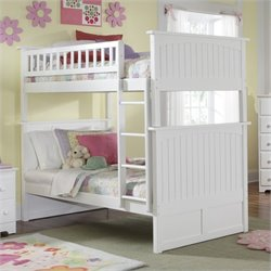 Atlantic Furniture Nantucket Bunk Bed in White Finish - Twin over Twin
