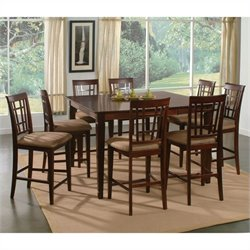 Atlantic Furniture Montego Bay 9 Piece Pub Height Dining Set - Caramel Latte
