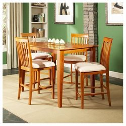 Atlantic Furniture Shaker 5 Piece Pub Height Dining Set - Caramel Latte
