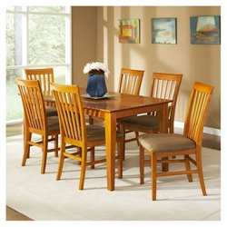 Atlantic Furniture Shaker 7 Piece Dining Set - Caramel Latte