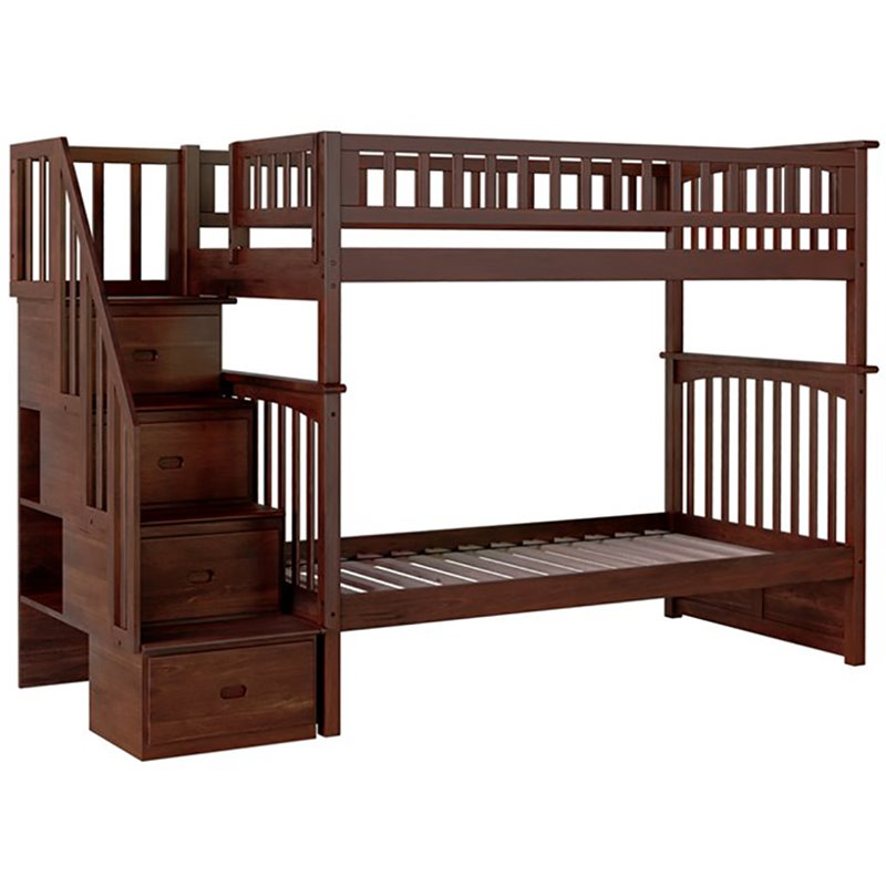 Atlantic Furniture Columbia Twin Over Twin Staircase Bunk Bed Ab55604