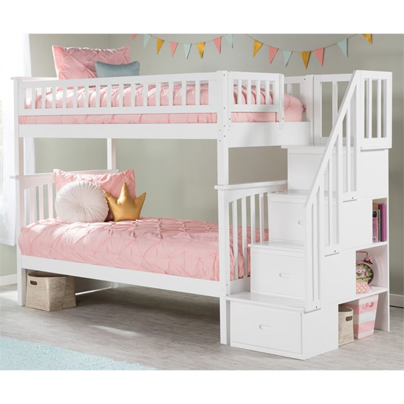 Atlantic Furniture Columbia Staircase Bunk Bed Twin over Twin in White
