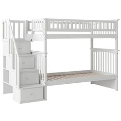 Atlantic Furniture Columbia Staircase Bunk Bed in White