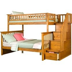 Atlantic Furniture Columbia Staircase Bunk Bed Twin Over Full in Caramel Latte