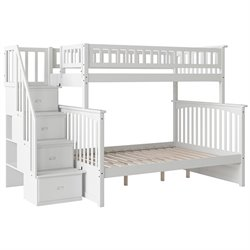 Atlantic Furniture Columbia Staircase Bunk Bed Twin Over Full in White