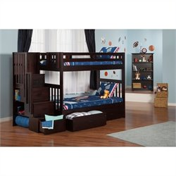 Atlantic Furniture Cascade Staircase Bunk Bed in Espresso with Storage - Twin Over Twin