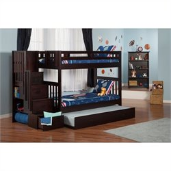 Atlantic Furniture Cascade Staircase Bunk Bed in Espresso with Trundle Bed - Twin Over Twin