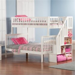 Atlantic Furniture Woodland Staircase Bunkbed in White - Twin Over Twin