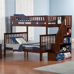 Atlantic Furniture Woodland Staircase Bunkbed in Walnut - Twin Over Twin