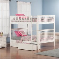 Atlantic Furniture Woodland Bunkbed with Panel Bed Drawers in White