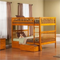 Atlantic Furniture Woodland Bunkbed with Bed Drawers in Caramel