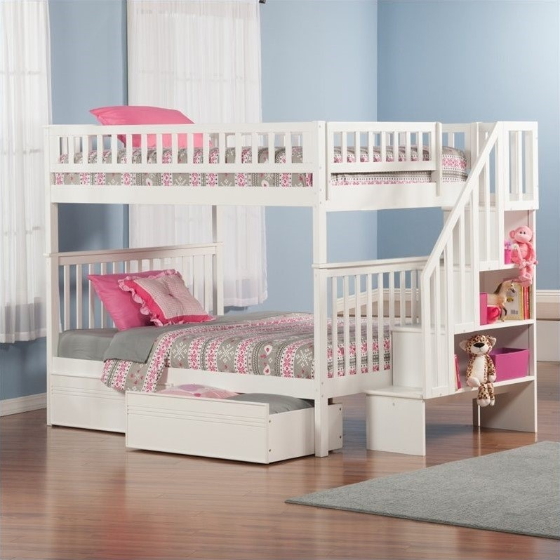 Atlantic Furniture Woodland Stair Bunkbed with Bed Drawers in White