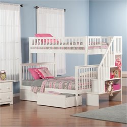 Atlantic Furniture Woodland Stair Bunkbed with Bed Drawers in White - Twin Over Twin