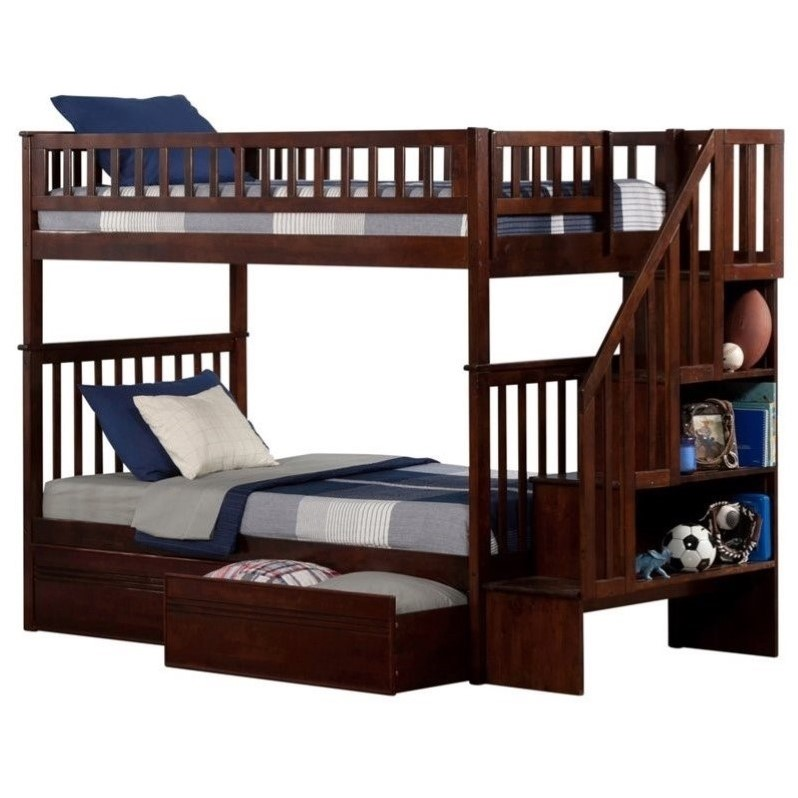 Atlantic Furniture Woodland Stair Bunkbed with Drawers in Walnut