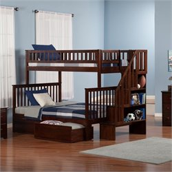 Atlantic Furniture Woodland Stair Bunkbed with Drawers in Walnut - Twin Over Twin