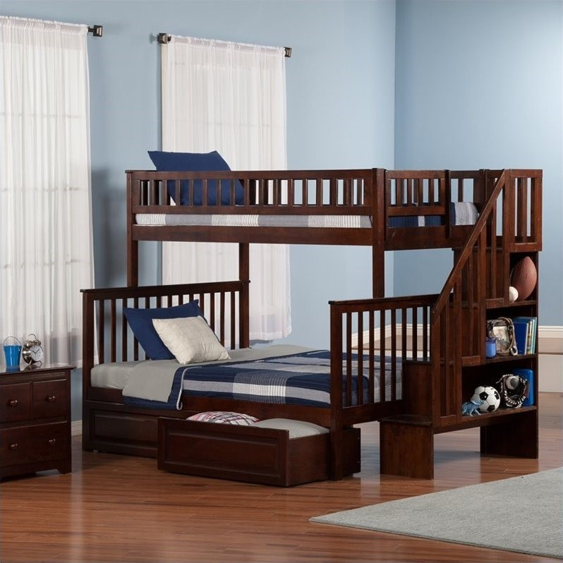 Woodland Stair Bunkbed with 2 Raised Panel Bed Drawers in Walnut