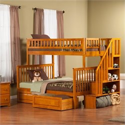 Woodland Stair Bunkbed with 2 Raised Panel Bed Drawers in Caramel - Twin Over Twin