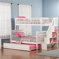 Woodland Stair Bunk Bed with Twin Raised Panel Trundle Bed in White - Twin Over Twin