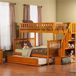 Woodland Stair Bunk Bed with Twin Raised Panel Trundle Bed in Caramel