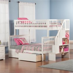 Woodland Stair Bunk Bed with 2 Urban Lifestyle Bed Drawers in White