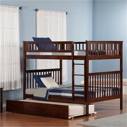 Atlantic Furniture Woodland Bunk Bed with Trundle Bed in Walnut - Twin Over Twin