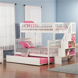 Atlantic Furniture Woodland Staircase Bunk bed with Trundle Bed in White