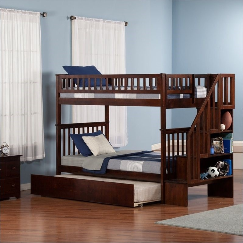 Woodland Staircase Bunk Bed with Trundle Bed in Walnut