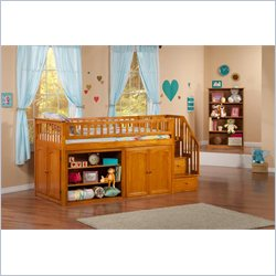 Atlantic Furniture Mini Stair Loft Bunk Set in Caramel