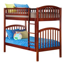 Atlantic Furniture Richland Bunk Twin over Twin in Antique Walnut