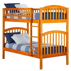 Atlantic Furniture Richland Bunk Twin over Twin in Caramel Latte