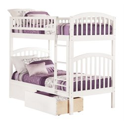 Atlantic Furniture Richland Bunk Twin over Twin with UBD in White