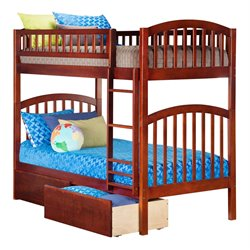Atlantic Furniture Richland Bunk Twin over Twin with UBD in Antique Walnut