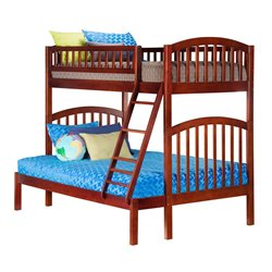 Atlantic Furniture Richland Bunk Bed Twin over Full in Walnut