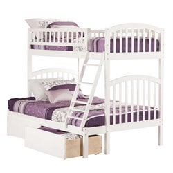 Atlantic Furniture Richland Bunk Bed Twin over Full with Urban Bed Drawers in White