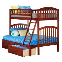 Atlantic Furniture Richland Bunk Bed Twin over Full with Urban Bed Drawers in Walnut