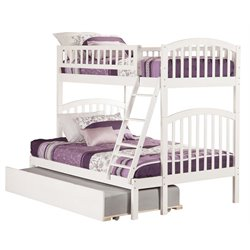 Atlantic Furniture Richland Bunk Bed Twin over Full with Urban Trundle Bed in White