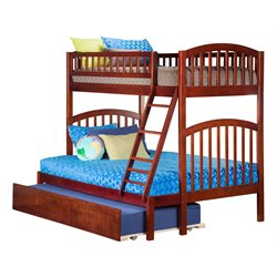 Atlantic Furniture Richland Bunk Bed Twin over Full with Urban Trundle Bed in Walnut