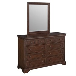 Home Styles Lafayette 8 Drawer Dresser and Mirror in Cherry
