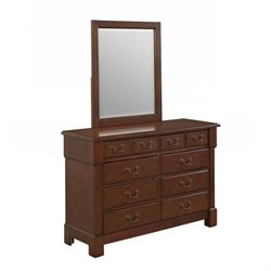 Home Styles Aspen Dresser and Mirror in Rustic Cherry