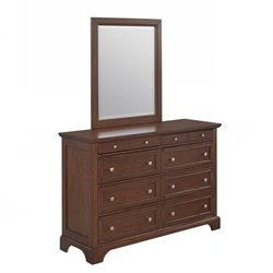 Home Styles Chesapeake 8 Drawer Dresser and Mirror in Cherry