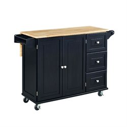 Home Styles Liberty Kitchen Cart with Wood Top in Black
